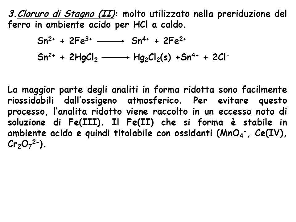 Cloruro di Stagno (II): molto utilizzato nella preriduzione del ferro in ambiente acido per HCl a caldo.