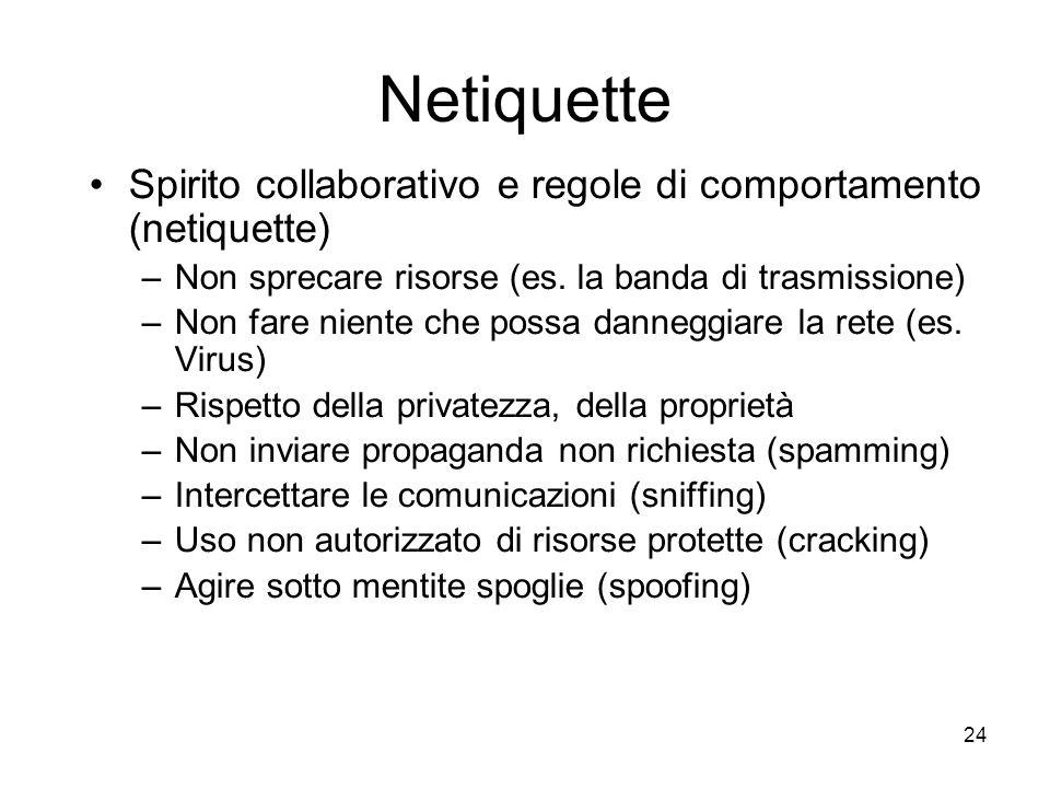 Netiquette Spirito collaborativo e regole di comportamento (netiquette) Non sprecare risorse (es. la banda di trasmissione)