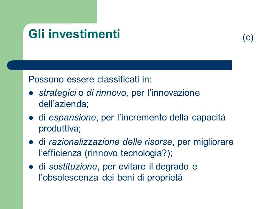 Gli investimenti (c) Possono essere classificati in: