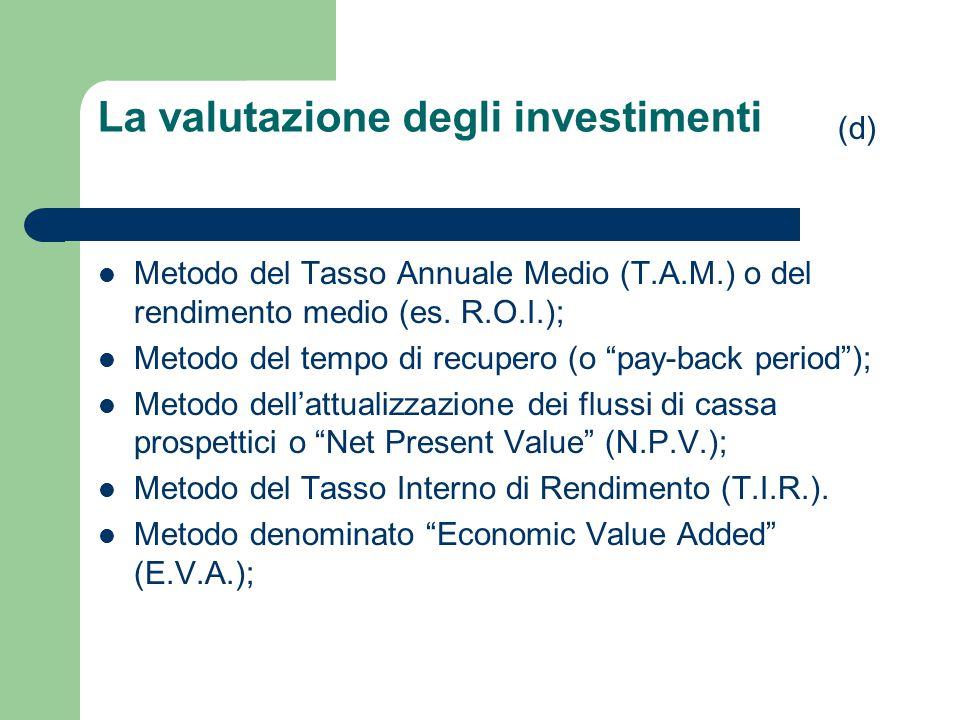 La valutazione degli investimenti