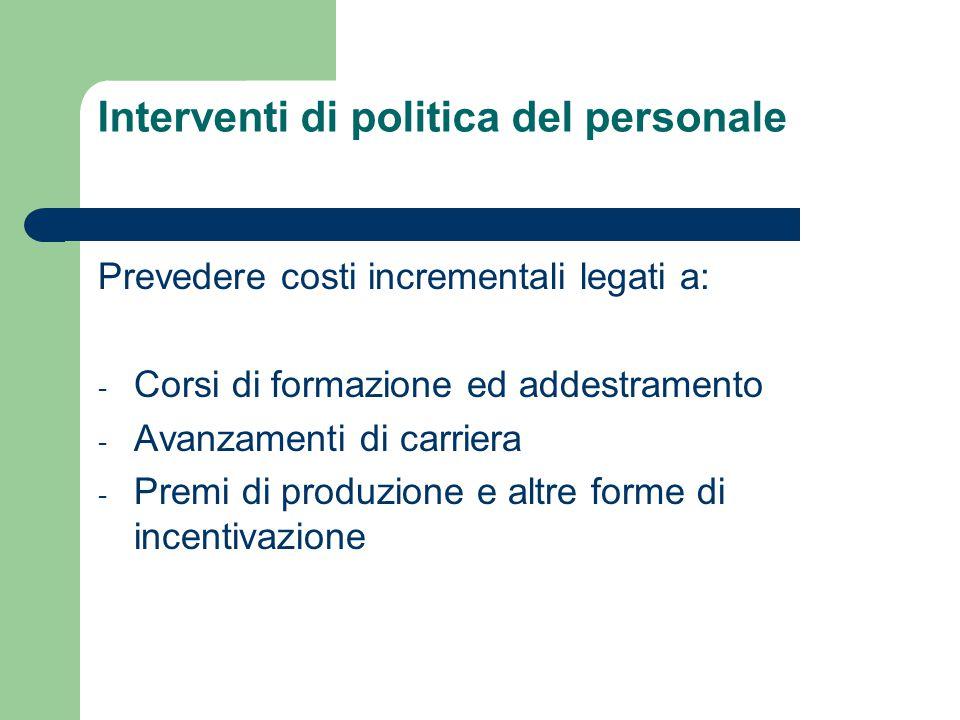 Interventi di politica del personale