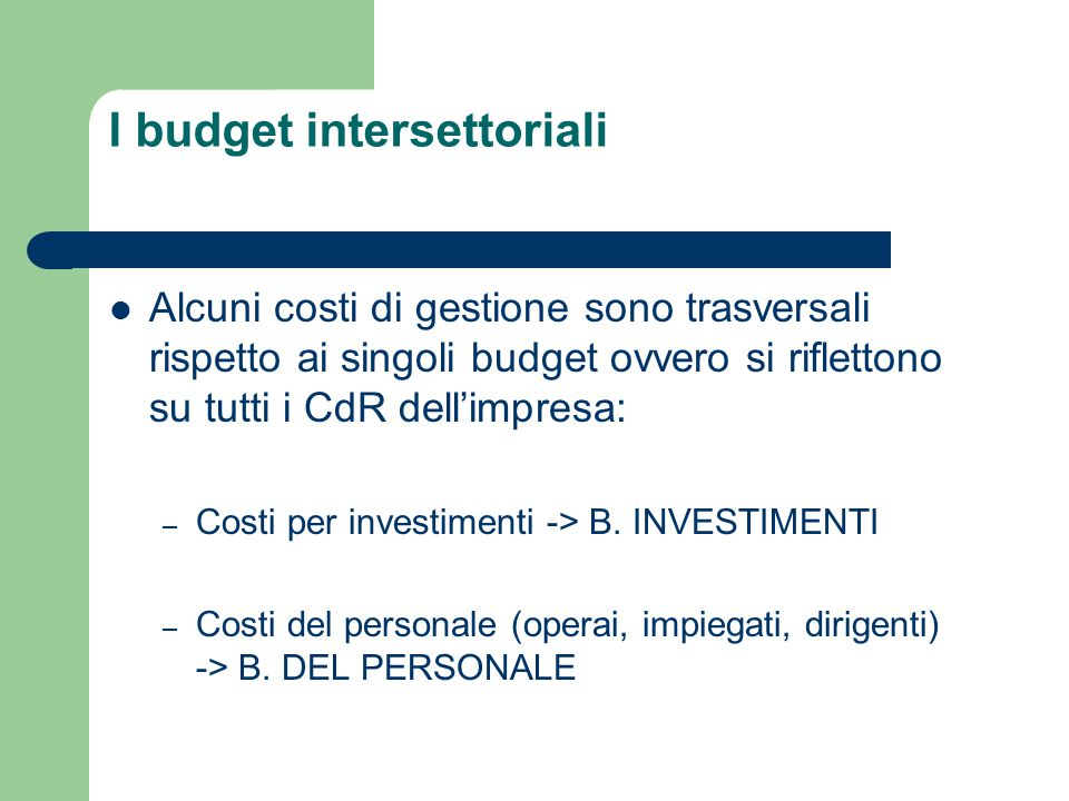 I budget intersettoriali
