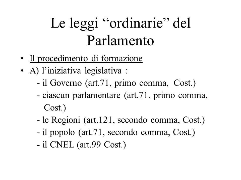 Le leggi ordinarie del Parlamento