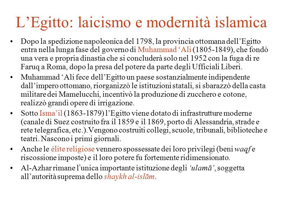 L'Egitto: laicismo e modernità islamica