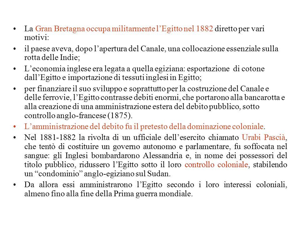 La Gran Bretagna occupa militarmente l'Egitto nel 1882 diretto per vari motivi: