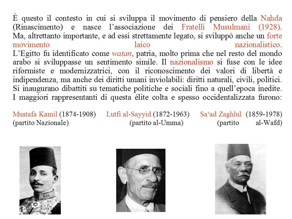 È questo il contesto in cui si sviluppa il movimento di pensiero della Nahda (Rinascimento) e nasce l'associazione dei Fratelli Musulmani (1928).