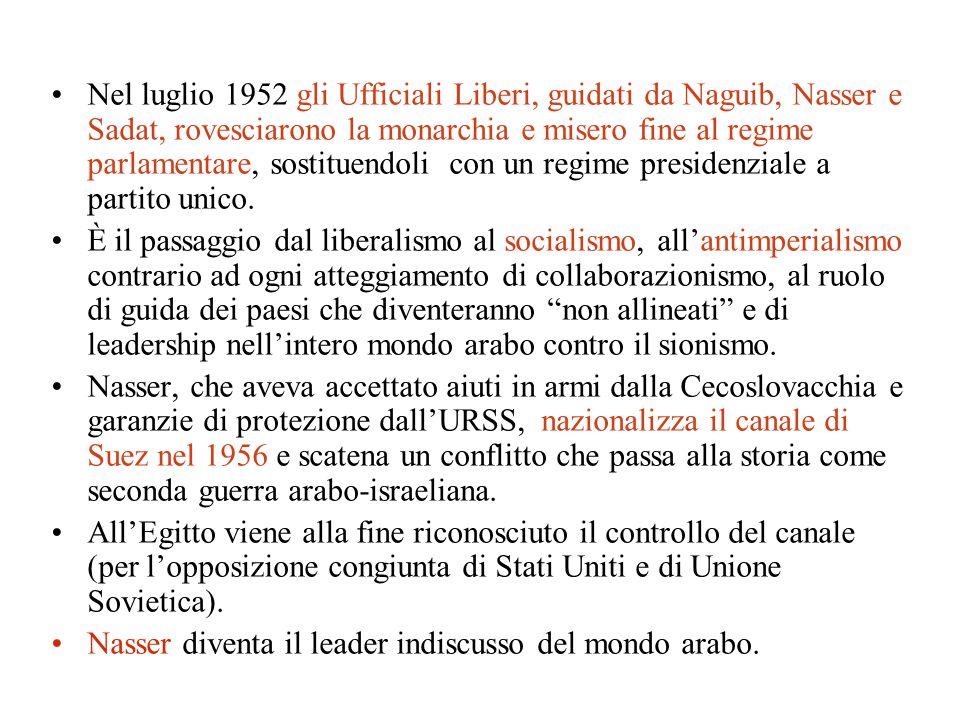 Nel luglio 1952 gli Ufficiali Liberi, guidati da Naguib, Nasser e Sadat, rovesciarono la monarchia e misero fine al regime parlamentare, sostituendoli con un regime presidenziale a partito unico.