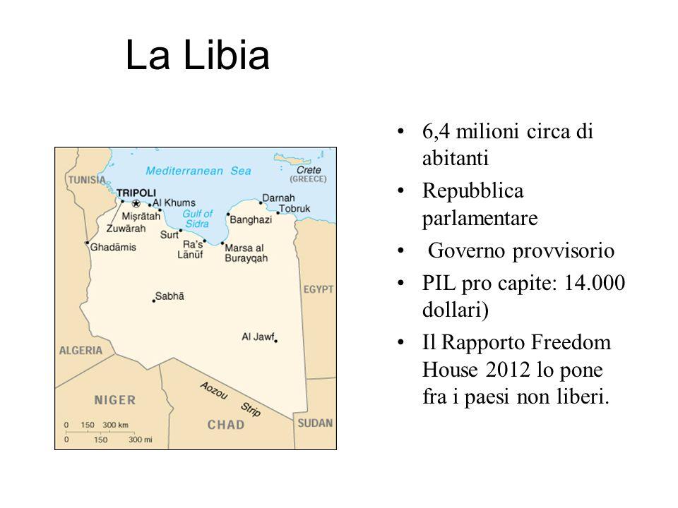 La Libia 6,4 milioni circa di abitanti Repubblica parlamentare