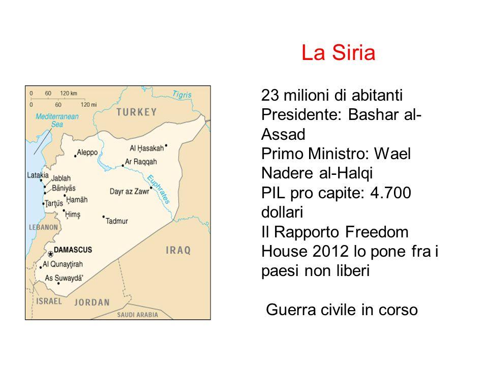 La Siria 23 milioni di abitanti Presidente: Bashar al-Assad Primo Ministro: Wael Nadere al-Halqi PIL pro capite: 4.700 dollari Il Rapporto Freedom House 2012 lo pone fra i paesi non liberi Guerra civile in corso