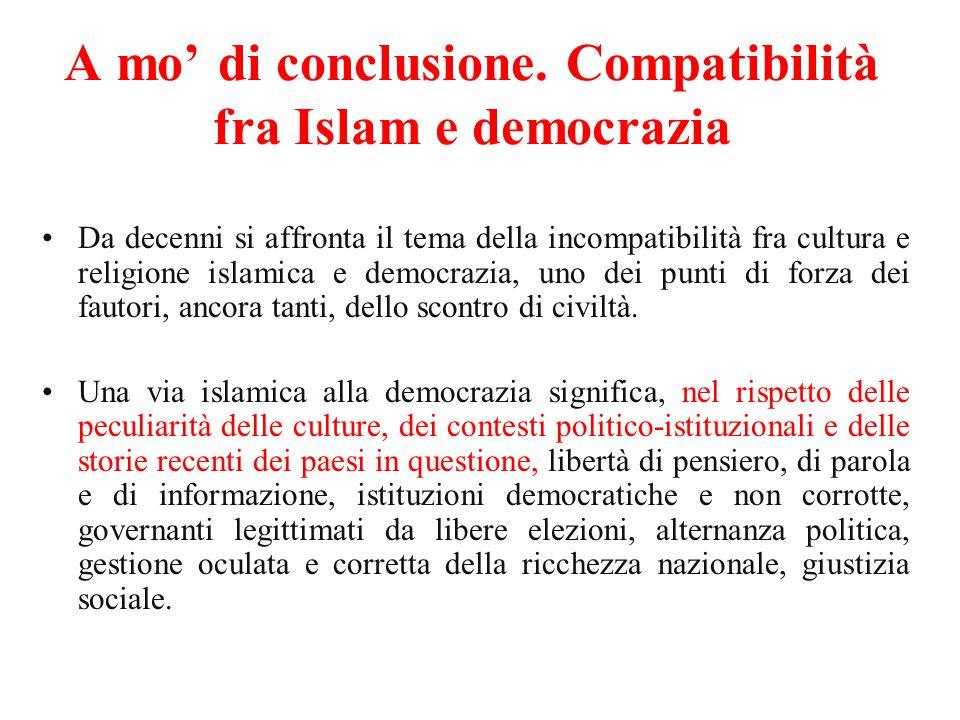 A mo' di conclusione. Compatibilità fra Islam e democrazia