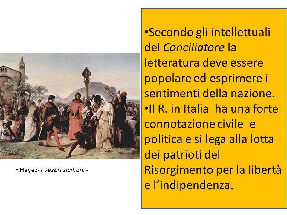 Secondo gli intellettuali del Conciliatore la letteratura deve essere popolare ed esprimere i sentimenti della nazione.