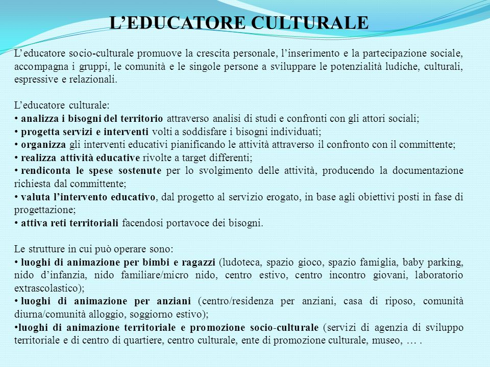 L'EDUCATORE CULTURALE