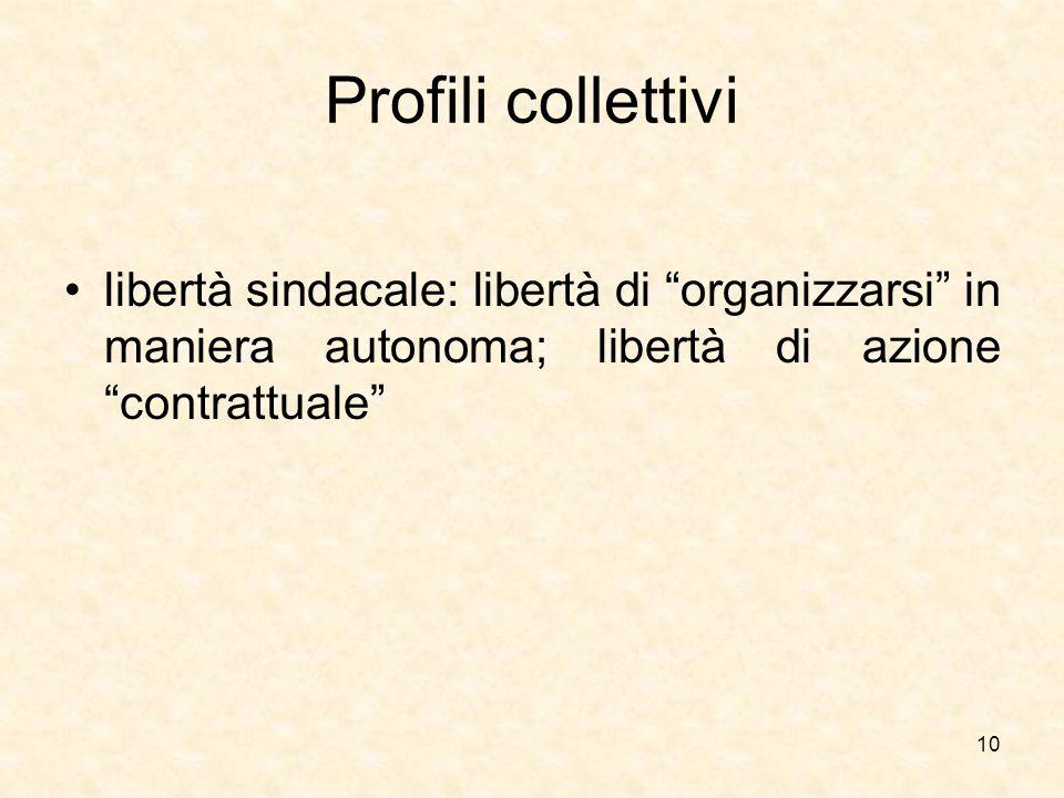 Profili collettivi libertà sindacale: libertà di organizzarsi in maniera autonoma; libertà di azione contrattuale