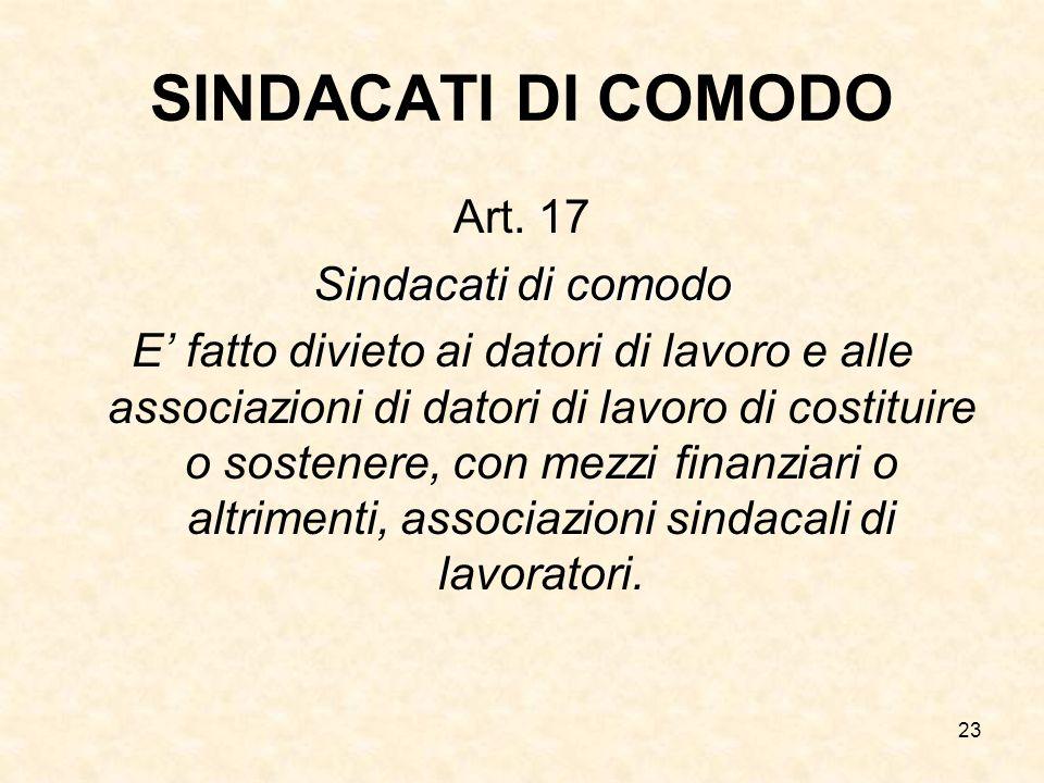 SINDACATI DI COMODO Art. 17 Sindacati di comodo