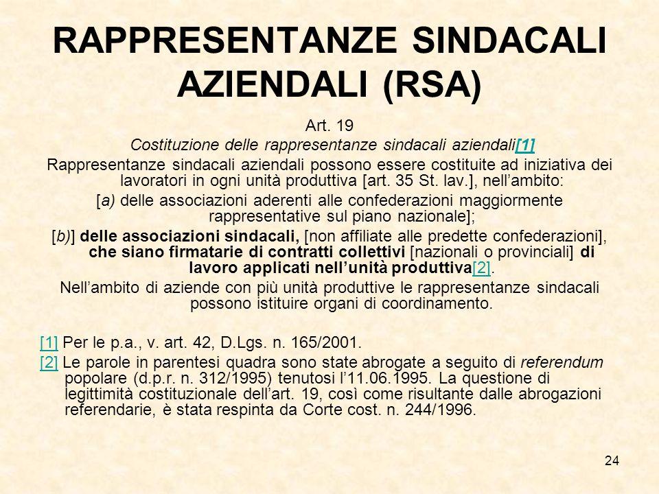 RAPPRESENTANZE SINDACALI AZIENDALI (RSA)