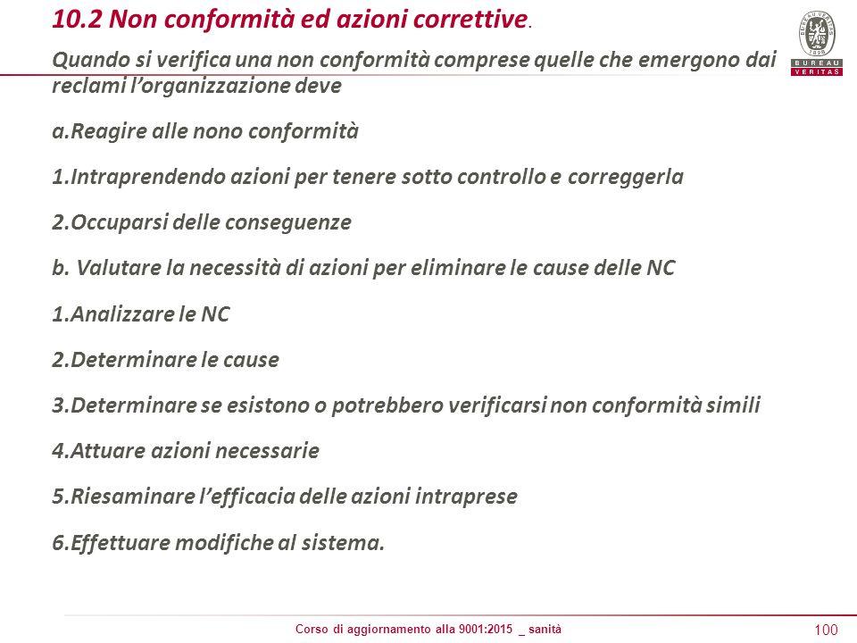 10.2 Non conformità ed azioni correttive.
