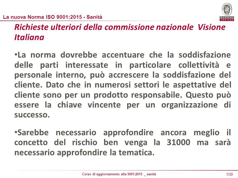Richieste ulteriori della commissione nazionale Visione Italiana