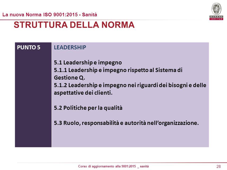 STRUTTURA DELLA NORMA PUNTO 5 LEADERSHIP 5.1 Leadership e impegno