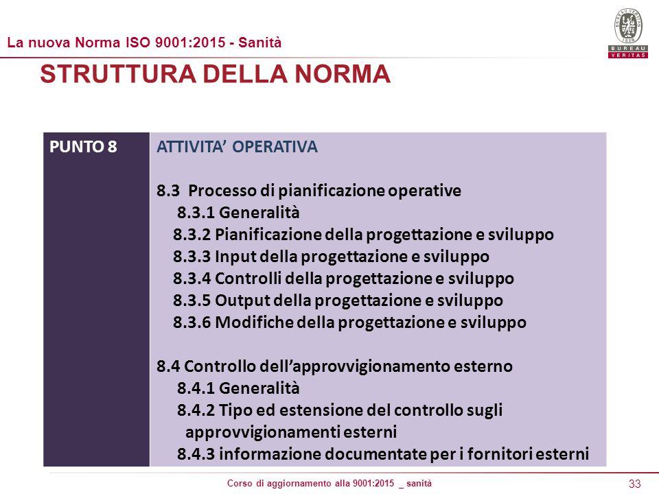 STRUTTURA DELLA NORMA PUNTO 8 ATTIVITA' OPERATIVA