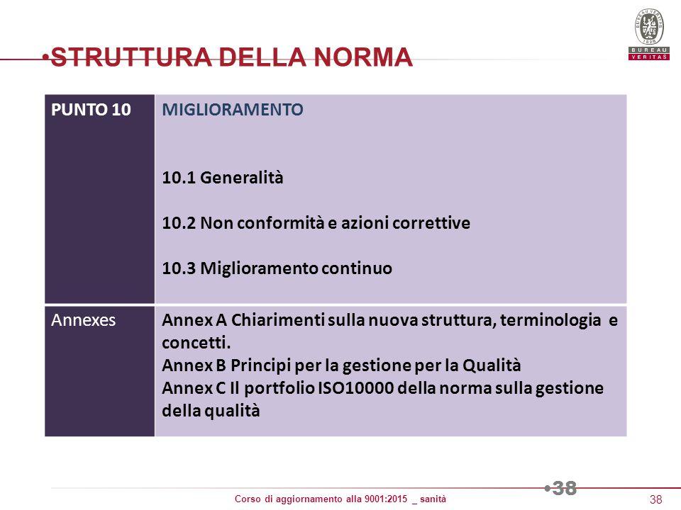 STRUTTURA DELLA NORMA PUNTO 10 MIGLIORAMENTO 10.1 Generalità