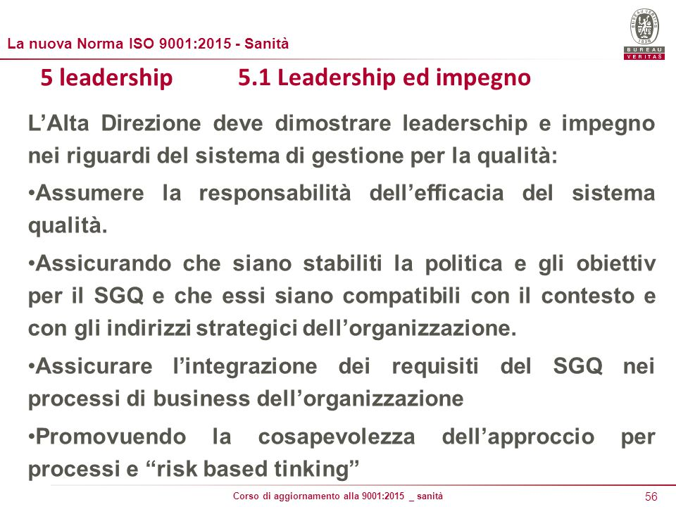 5 leadership 5.1 Leadership ed impegno