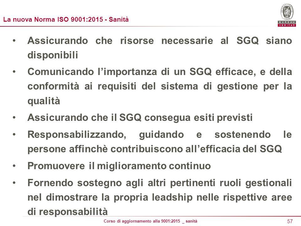 Assicurando che risorse necessarie al SGQ siano disponibili