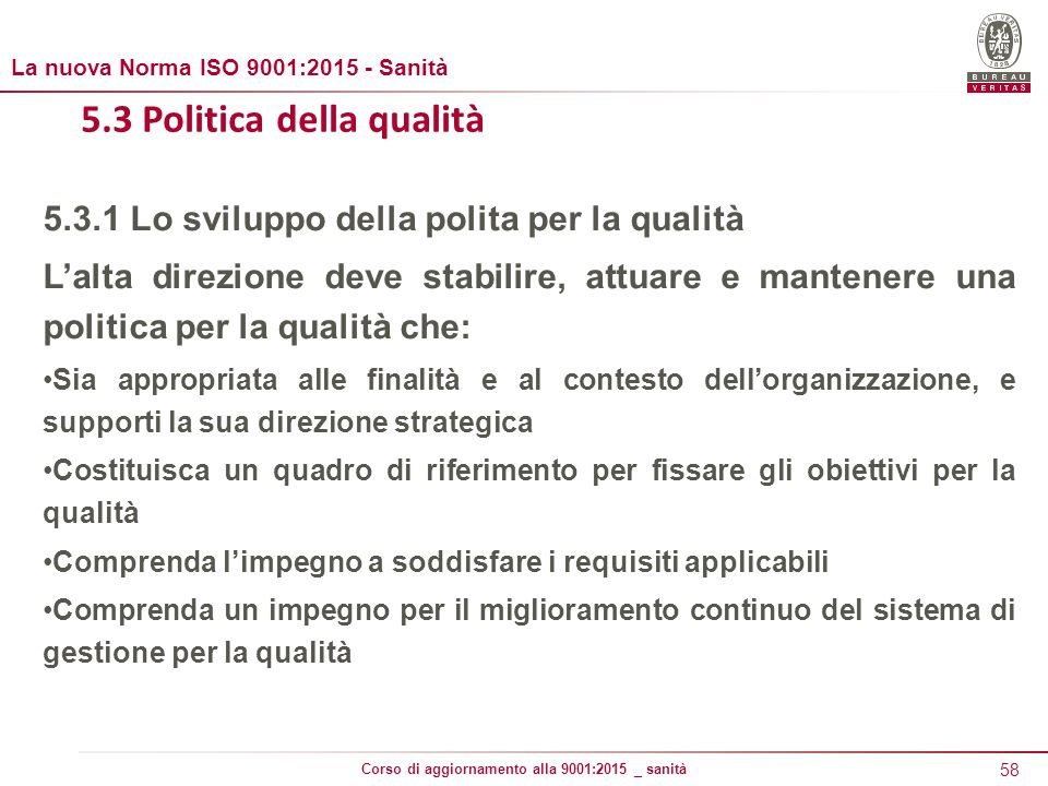 5.3 Politica della qualità