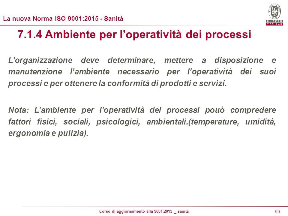 7.1.4 Ambiente per l'operatività dei processi