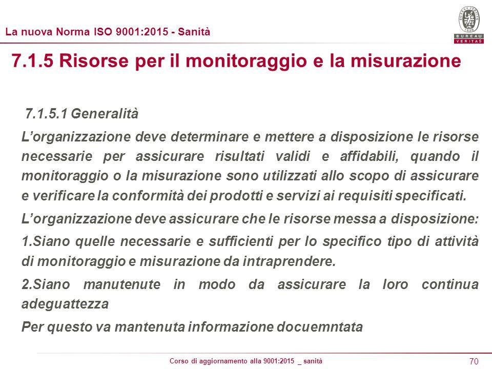 7.1.5 Risorse per il monitoraggio e la misurazione