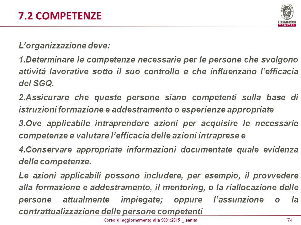 7.2 COMPETENZE L'organizzazione deve: