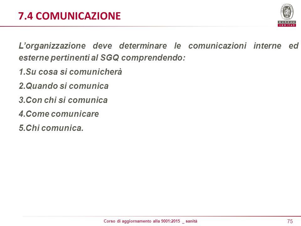 7.4 COMUNICAZIONE L'organizzazione deve determinare le comunicazioni interne ed esterne pertinenti al SGQ comprendendo: