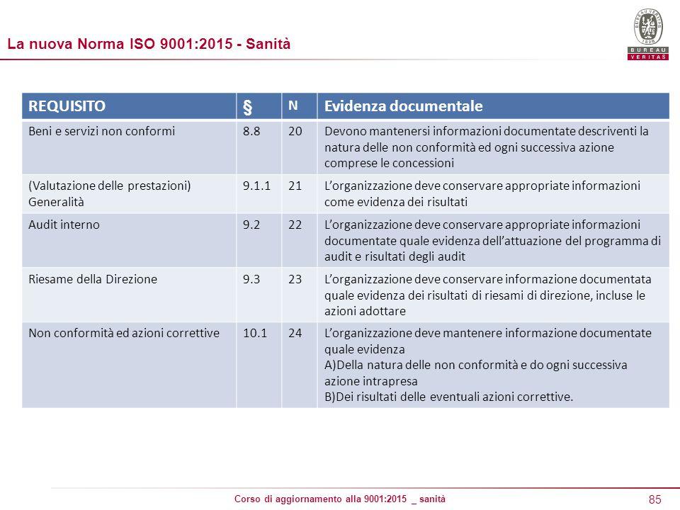 REQUISITO § Evidenza documentale La nuova Norma ISO 9001:2015 - Sanità