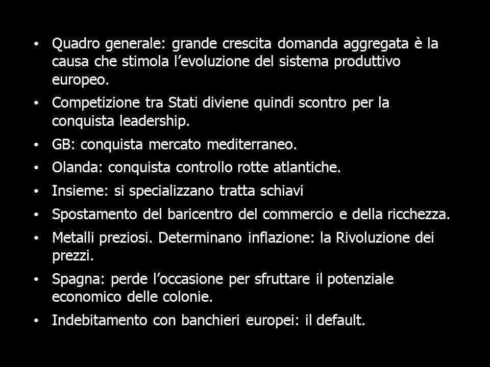 Quadro generale: grande crescita domanda aggregata è la causa che stimola l'evoluzione del sistema produttivo europeo.