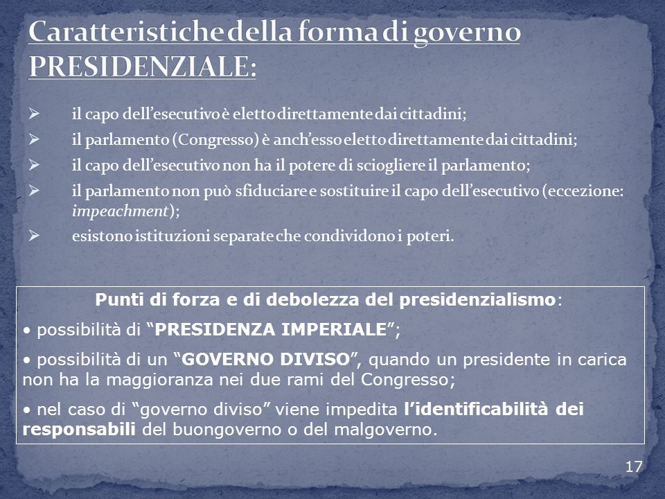 Caratteristiche della forma di governo PRESIDENZIALE:
