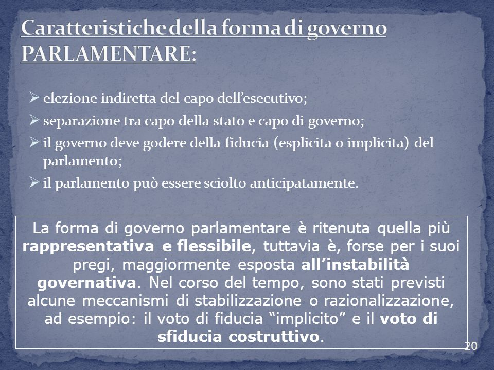 Caratteristiche della forma di governo PARLAMENTARE: