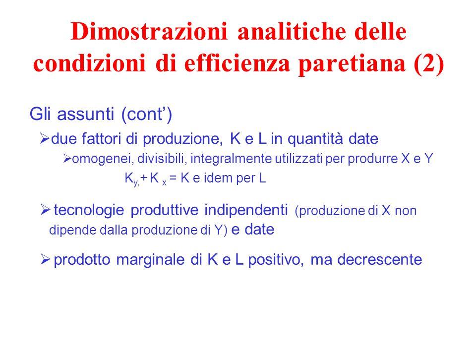 Dimostrazioni analitiche delle condizioni di efficienza paretiana (2)