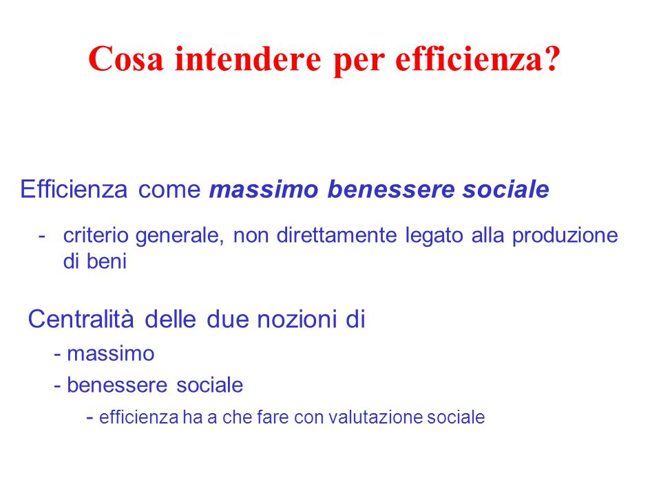 Cosa intendere per efficienza