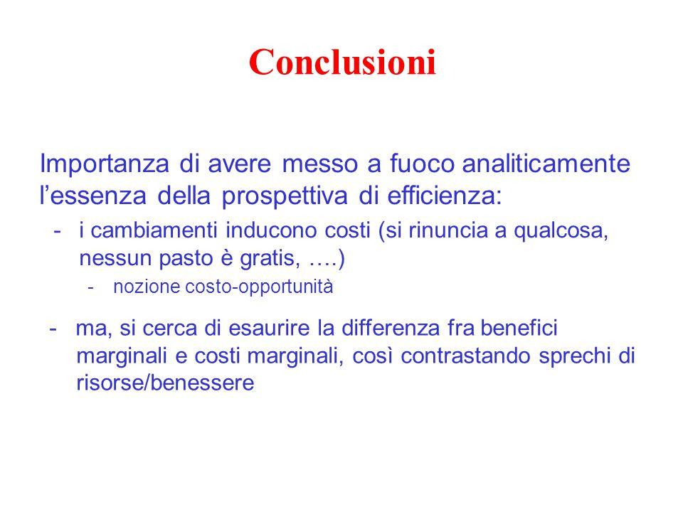 Conclusioni Importanza di avere messo a fuoco analiticamente l'essenza della prospettiva di efficienza: