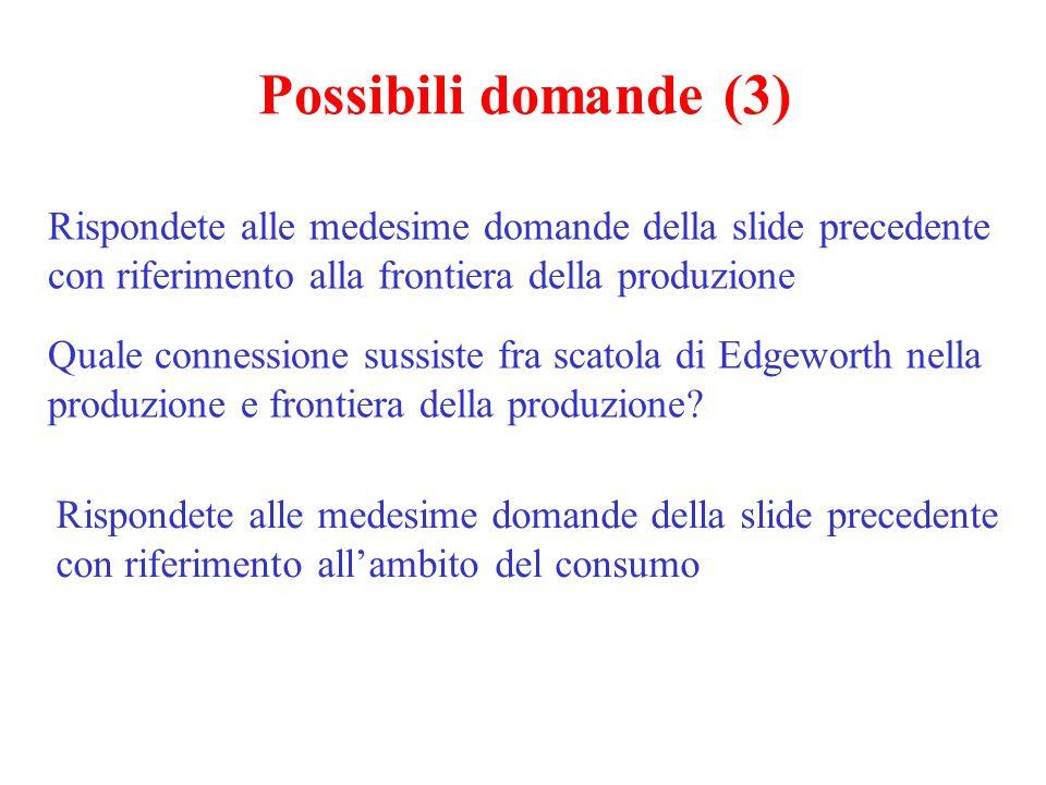 Possibili domande (3) Rispondete alle medesime domande della slide precedente con riferimento alla frontiera della produzione.