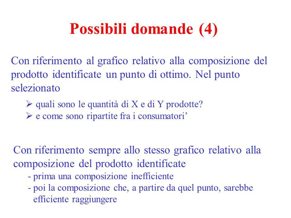 Possibili domande (4) Con riferimento al grafico relativo alla composizione del prodotto identificate un punto di ottimo. Nel punto selezionato.