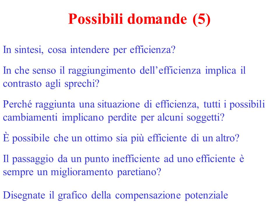 Possibili domande (5) In sintesi, cosa intendere per efficienza