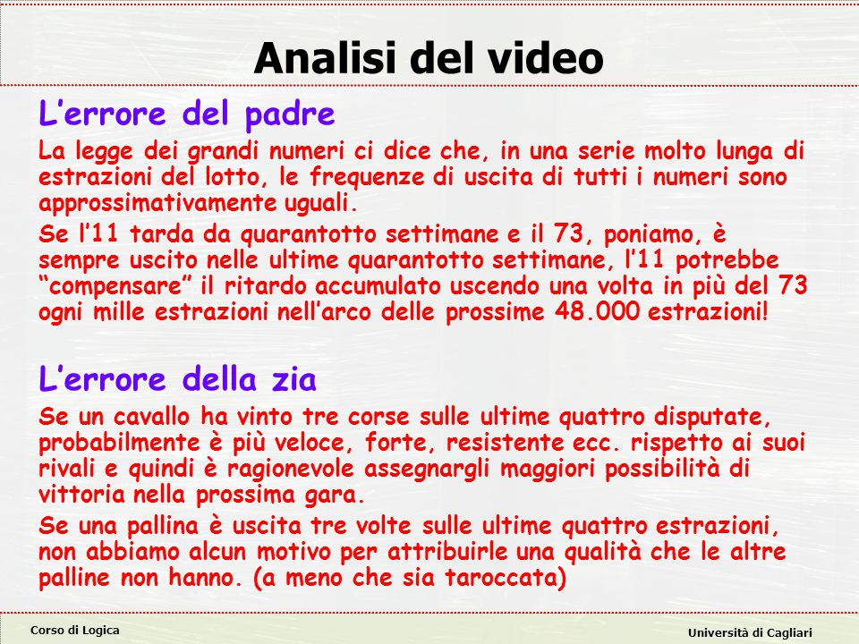 Analisi del video L'errore del padre L'errore della zia