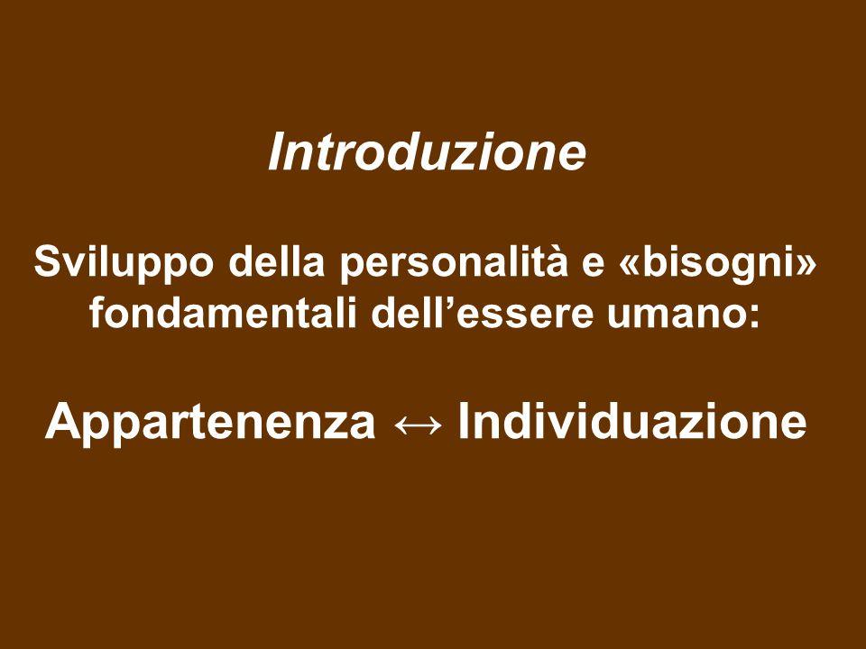 Introduzione Sviluppo della personalità e «bisogni» fondamentali dell'essere umano: Appartenenza ↔ Individuazione