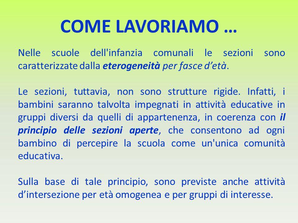 COME LAVORIAMO … Nelle scuole dell infanzia comunali le sezioni sono caratterizzate dalla eterogeneità per fasce d'età.