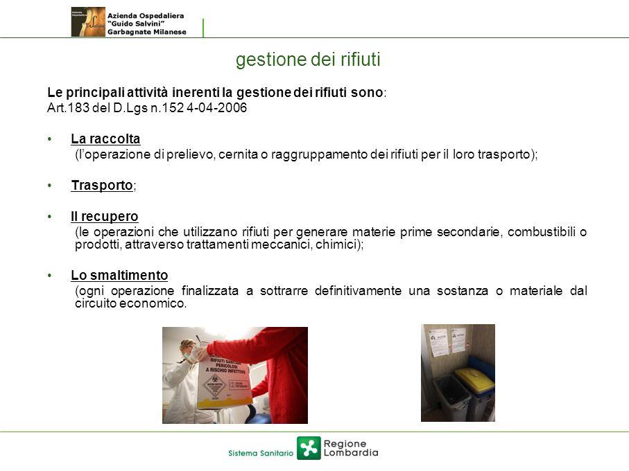 gestione dei rifiuti Le principali attività inerenti la gestione dei rifiuti sono: Art.183 del D.Lgs n.152 4-04-2006.