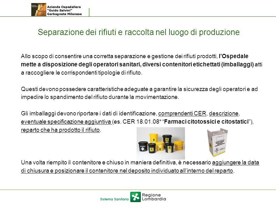 Separazione dei rifiuti e raccolta nel luogo di produzione