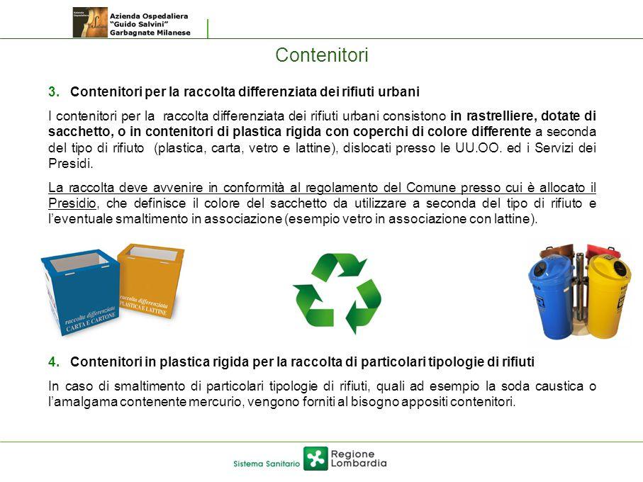 Contenitori Contenitori per la raccolta differenziata dei rifiuti urbani.