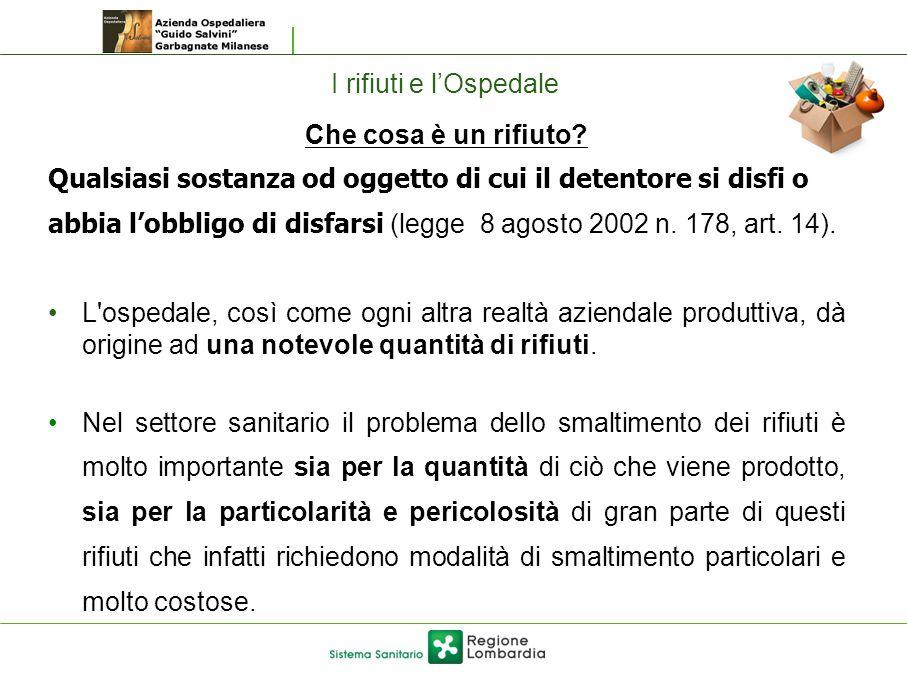 I rifiuti e l'Ospedale Che cosa è un rifiuto Qualsiasi sostanza od oggetto di cui il detentore si disfi o.