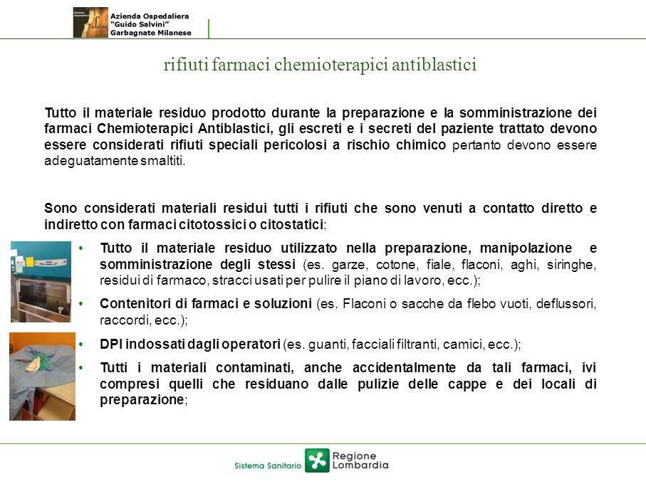 rifiuti farmaci chemioterapici antiblastici