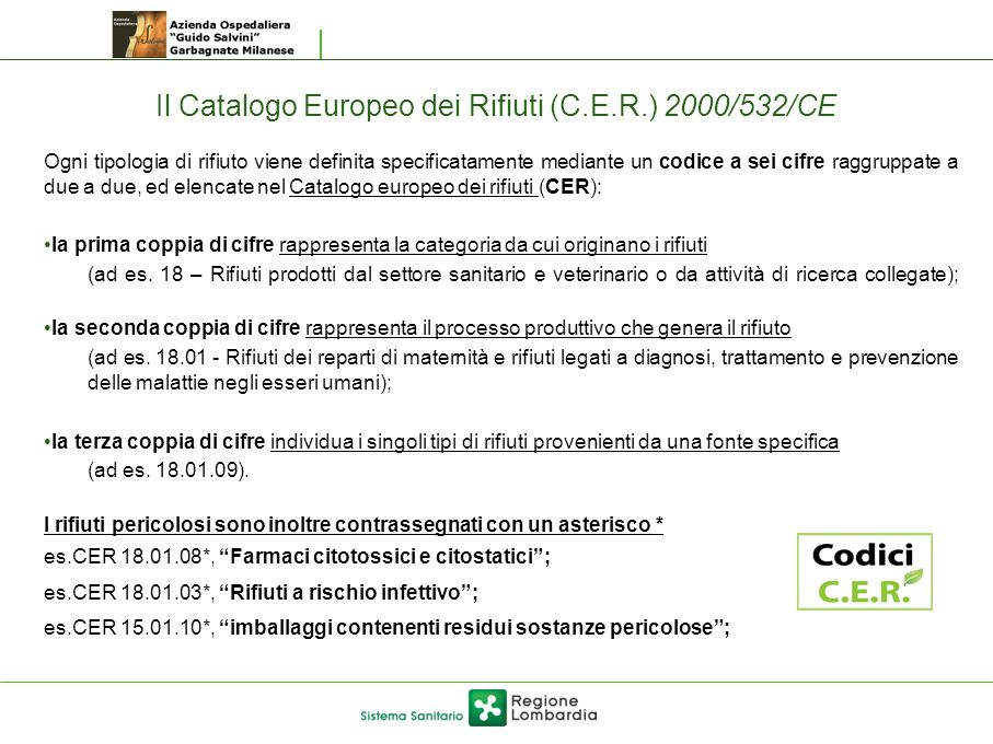 Il Catalogo Europeo dei Rifiuti (C.E.R.) 2000/532/CE